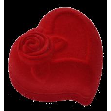 """1207 Футляр """"сердце с розой"""" красный для кольца"""