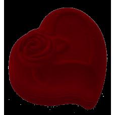 "1208 Футляр ""сердце с розой"" бордовый для кольца"