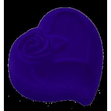 """1209 Футляр """"сердце с розой"""" синий для кольца"""