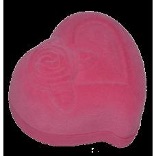 """1215 Футляр """"сердце с розой"""" розовый внутри розовый универсальная прорезь"""