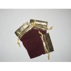 1803-2 Мешок бордовый с золотом 6х8 см